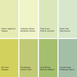 Green Paint Picks For Dining Rooms Clockwise From Top Left 1 Highland 6007 5a Valspar 2 Celadon 2028 60 Benjamin Moore