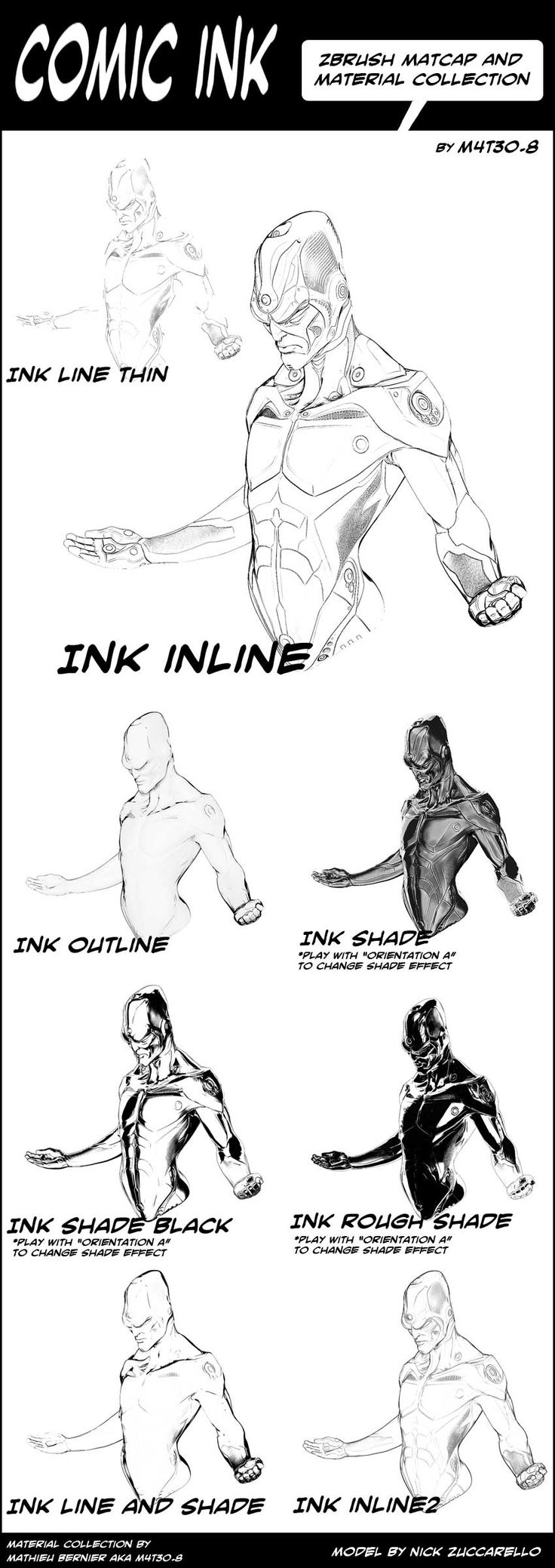 Comic ink matcap pack for download