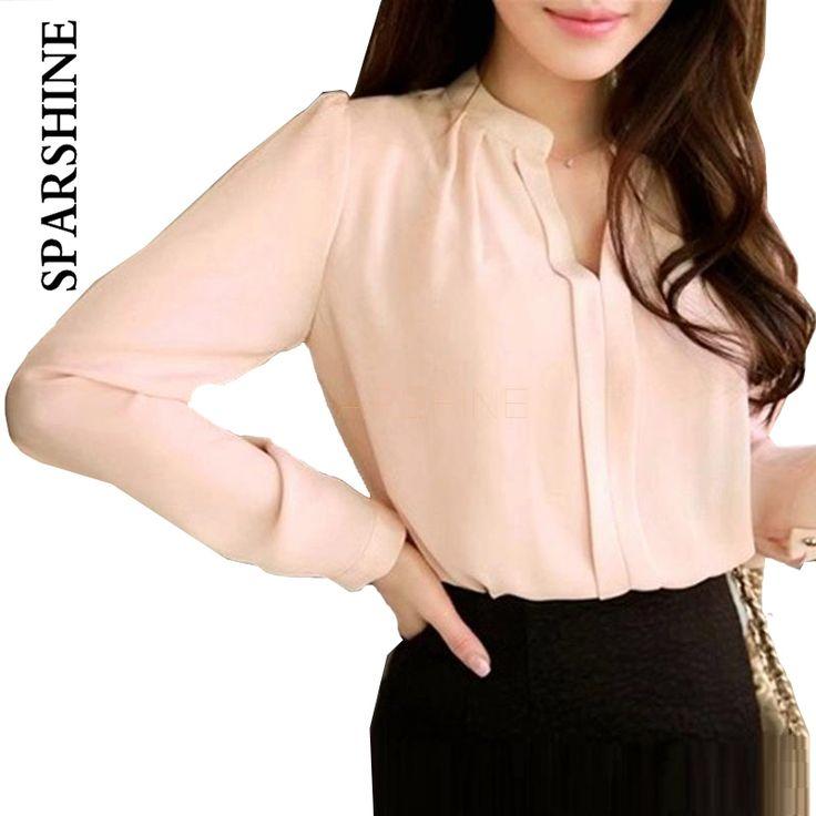 2016春女性シフォンシャツブラウスレディースホワイトピンクエレガントなセクシーなvネック長袖シャツ女性のオフィスシャツプラスサイズ