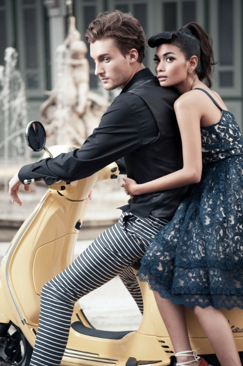 HIM Shirt & Vest: #DolceandGabbana; Trouser: Curated by Ek Thongprasert    HER Dress: Nina Ricci at cloud9; Earrings: Matina Amanita    #Vespa LX125ie in Giallo Lime courtesy of Vespiario Thailand    #fashion #style #photography #bangkok #couture