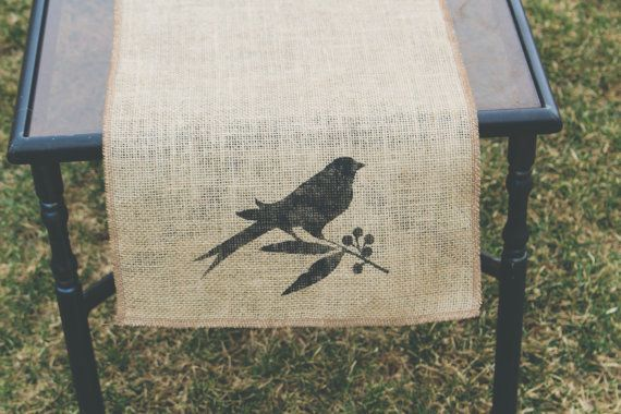 Burlap Table Runner Table Runner Bird Table by janes2daughters