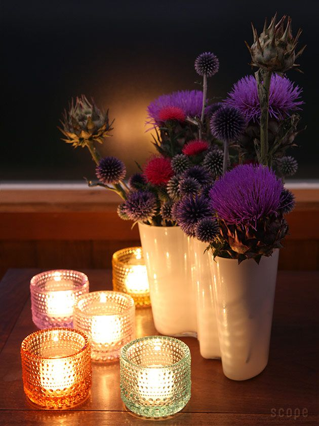Add some candles to your center piece to set the moon. I love these colors and the Alto Vase.