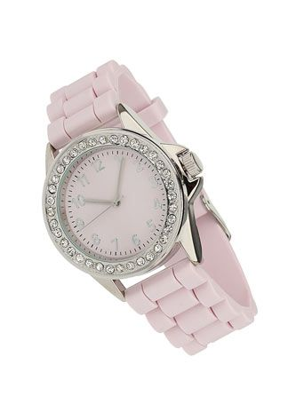 Pink Silicon Strap Watch