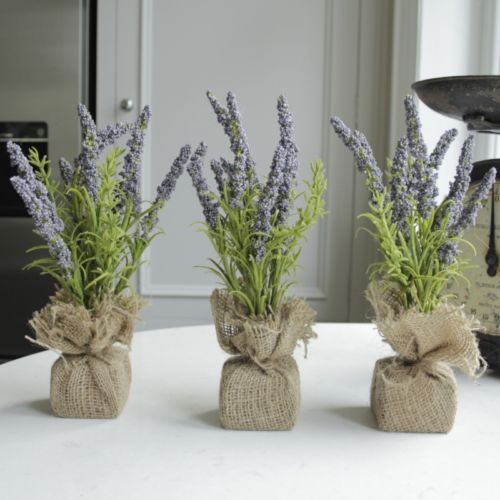 Set Of Three Artificial Lavender Plants In Hessian Pot