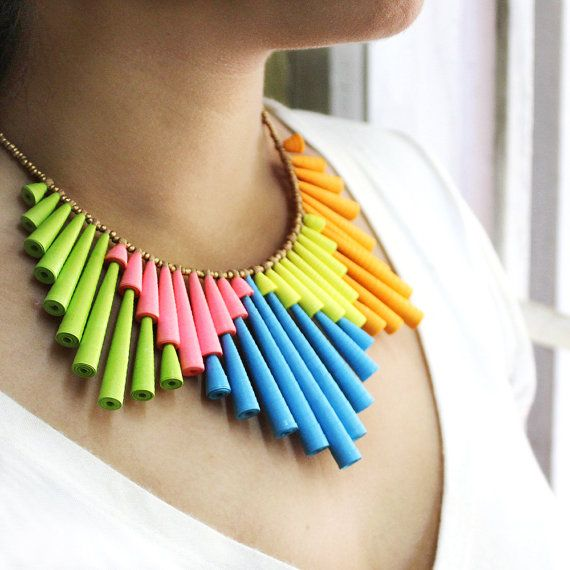 Neon Necklace First anniversary gift Colorful by PaperMelon- use more color coordinated papers