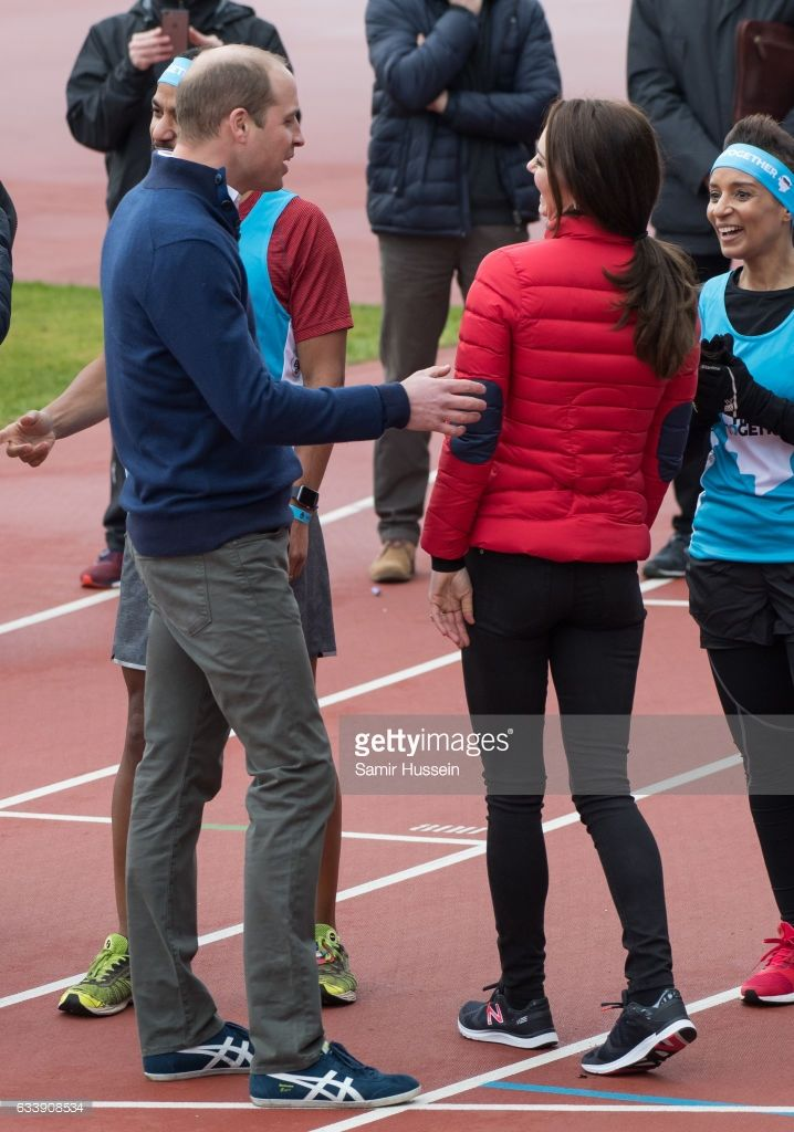 Catherine, Duchess of Cambridge and Prince Wiliam, Duke of Cambridge attend a training day for the Heads Together team for the London Marathon at Olympic Park on February 5, 2017 in London, England.