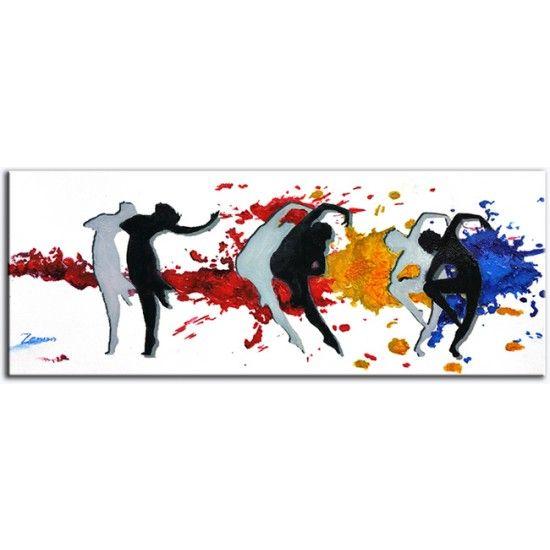 Zenon acryl schilderij 'Moderne Dans' een kleurige moderne dansvoorstelling Kunstvoorjou.nl #zenon #kunstvoorjou #schilderij #dansers #modernedans