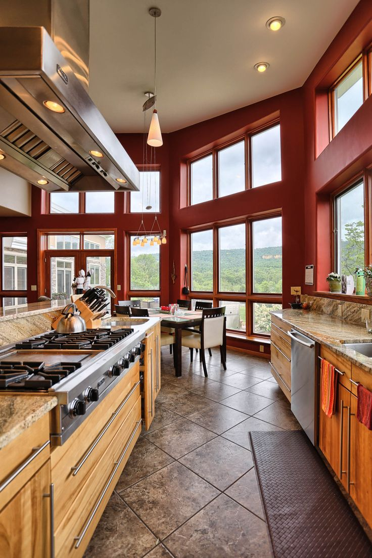 Beautiful kitchen - The views from this home are amazing. This home boast hwf, tile, granite, red birch kitchen cabinets, 2 dw, 3 ovens, 6 burner viking cooktop, Viking SS range hood, double sided fireplace, Butlers pantry, American Cherry Wet bar w/dw and clear ice maker, MBR suite with river stone walk in shower, 3 sided fp and whirlpool. Home is located in Harrisburg PA and is available for purchase.
