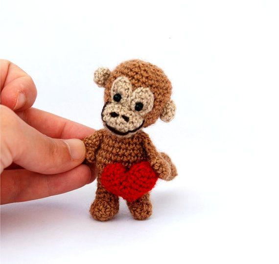 $33.66 Valentine's miniature #monkey, tiny crocheted animal, mini monkey, #kawaii collectible animal, brown red heart, summer gift, #dollhouse, crochet art by crochAndi
