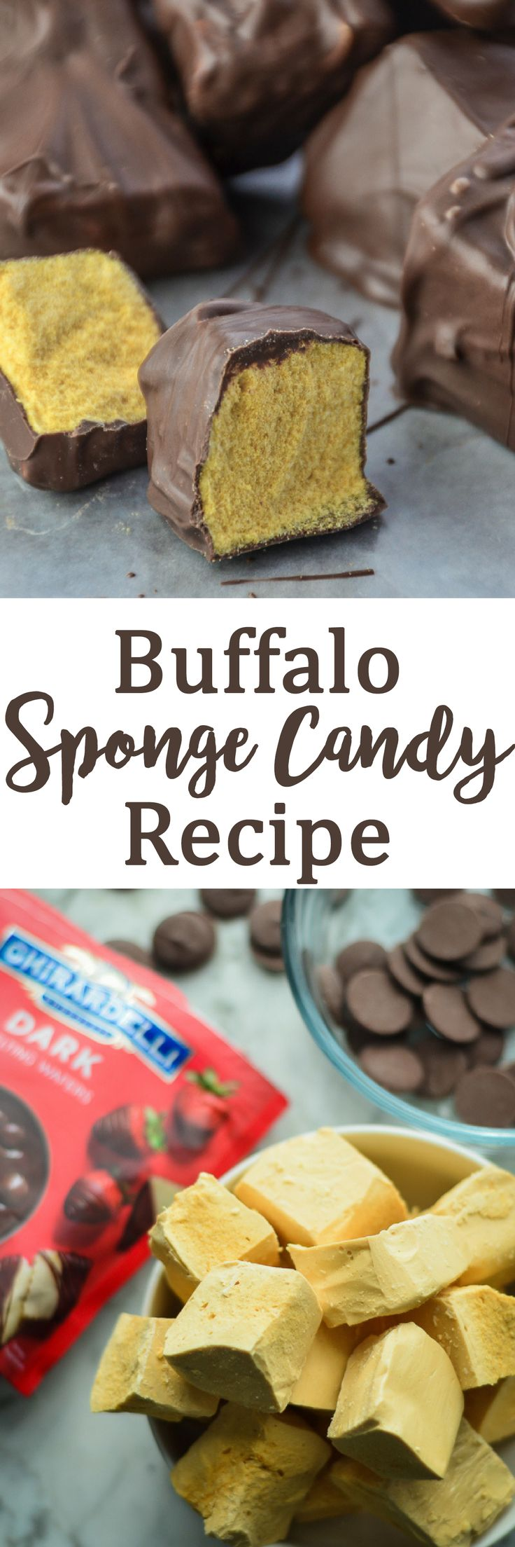 "Recipe for Homemade Buffalo Sponge Candy, with a light-as-air crispy ""sponge"" of aerated toffee, dipped in dark chocolate. via @homeinFLX"