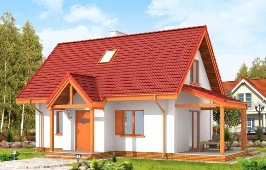 Projekt Okruszek jest rozbudowaną wersją projektu domu Sosenka. Budynek powiększony został o pomieszczenie gospodarcze na parterze, przedsionek z daszkiem przed wejściem i zadaszony częściowo taras. Projekt domku Okruszek jest świetnym rozwiązaniem dla małej rodziny, może służyć zarówno jako dom letniskowy jak i całoroczny.