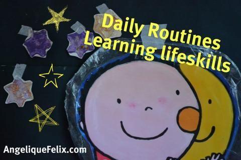 Daily routine play activity - preschool /  AngeliqueFelix.com #lifeskills