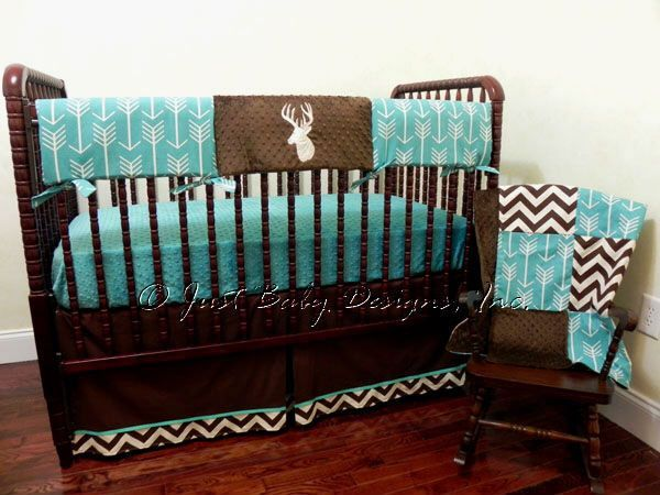 Deer Crib Bedding Set -  Boy Baby Bedding, Crib Rail Cover, Deer Baby Bedding, Brown and Teal Baby Bedding by BabyBeddingbyJBD on Etsy https://www.etsy.com/listing/267942638/deer-crib-bedding-set-boy-baby-bedding