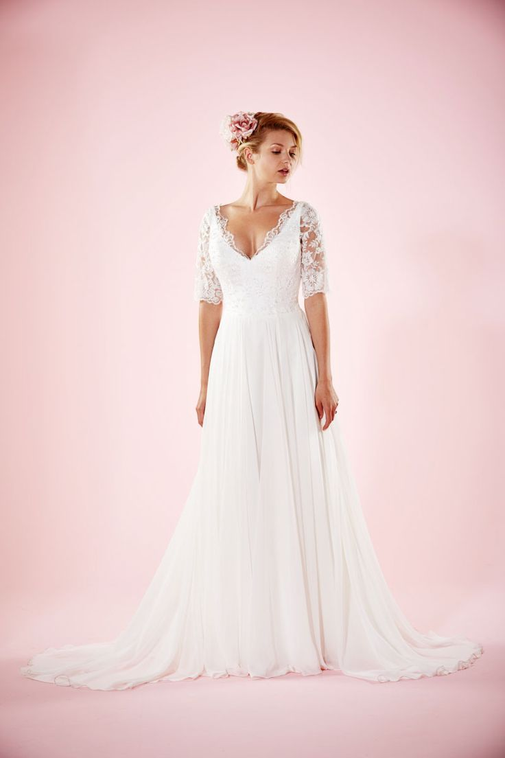 Plus Size Wedding Dress - up to size 30.  Maud | Chiffon Skirted Wedding Gown | Delicate Lace Bodice | Charlotte Balbier
