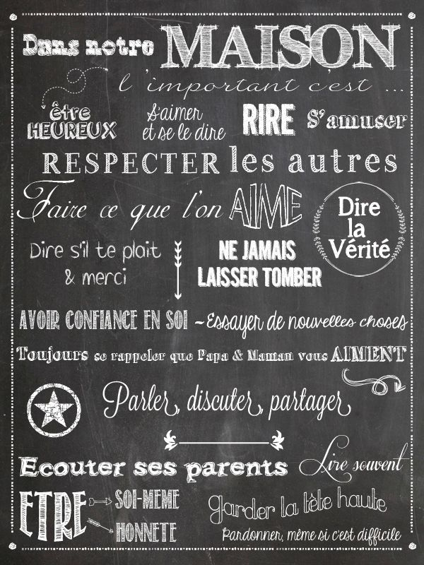 chalkboard tableau noir r gle de vie fran ais r gle de famille family rules in french. Black Bedroom Furniture Sets. Home Design Ideas