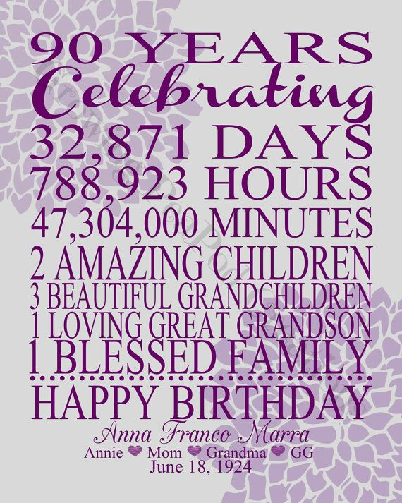 90th Birthday Print by GrowingPeaPod on Etsy                              …