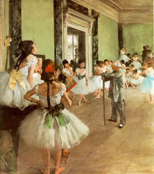Edgar Degas, The Dancing Class, c.1874. Instead of depicting a famous ballerina in costume for the main role, Degas broke from convention, turning his attention to the day-to-day training of the young dancers in the chorus.