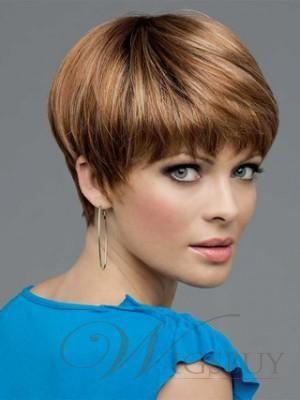 Modern Light Auburn Short Straight Graceful Synthetic Wig