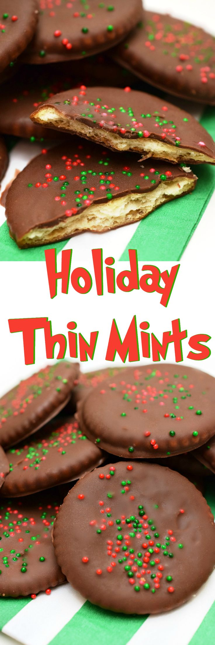 Homemade Holiday Thin Mints are easy to make and a perfect way to satisfy those cookie cravings when there's not a scout in sight!