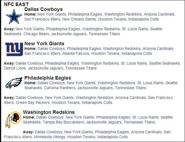2014 2015 NFL Schedule 2014 2015 - 2014 2015 Dallas Cowboys Schedule 2014 2015 - 2014 2015 Dallas Cowboys Scheduled matchups  2014 2015