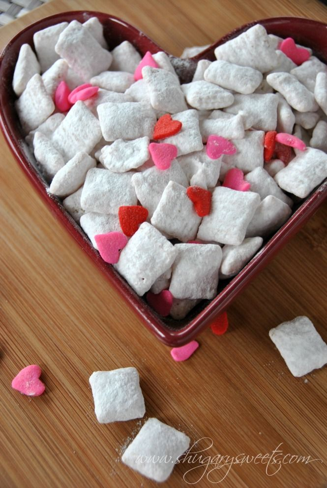 Cherry Puppy Chow. A nostalgic treat that perfectly pairs with love and laughter on Valentine's Day.