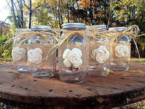 Rustic Mason Jars with Sola Flower - Rustic Wedding Decor - Wedding Mason Jars - Mason Jar Centerpieces - Ball Mason Jars