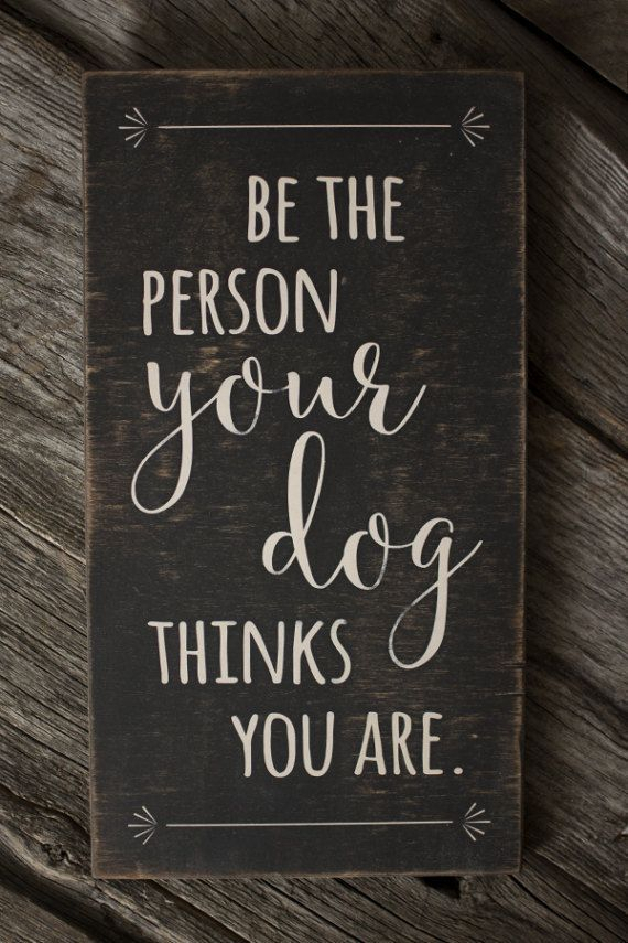 Be The Person Your Dog Thinks You Are wood sign for the home.