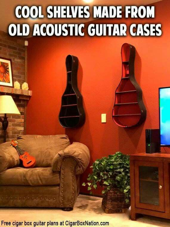 Guitar cases repurposed as wall shelves! Love this. (Rethink reuse reduce waste diy decorate upcycled)