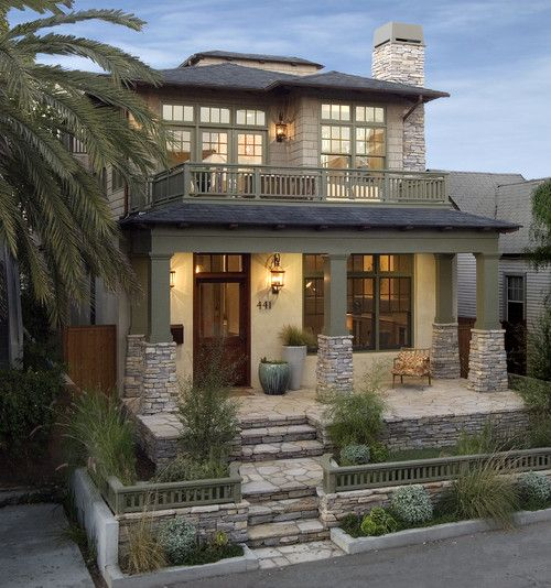 I like the field stone and exterior colors - David Watson Architects, Newport Beach.
