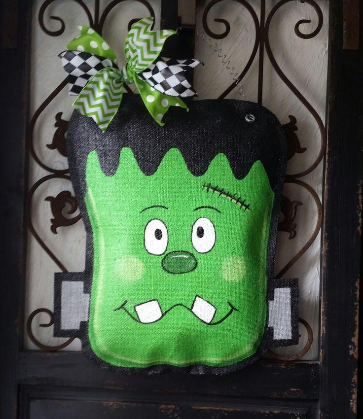Frankenstein Halloween Burlap Door Hanger Decoration and Wreath Replacement