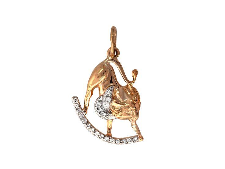 "Кулон, знак зодиака ""Лев"", лев на дуге с фианитами, красное золото, 585 проба"