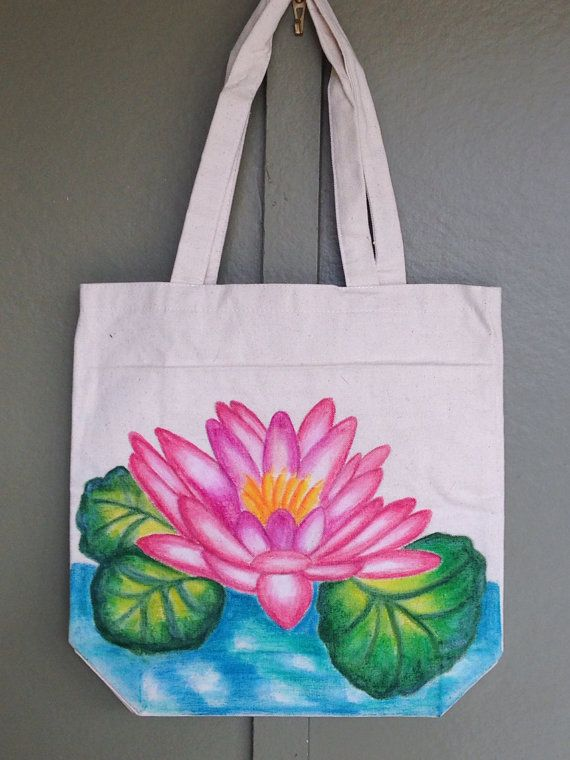 Hand Painted Tote Bag Water Lily on Etsy, $22.99 | Artwork ...