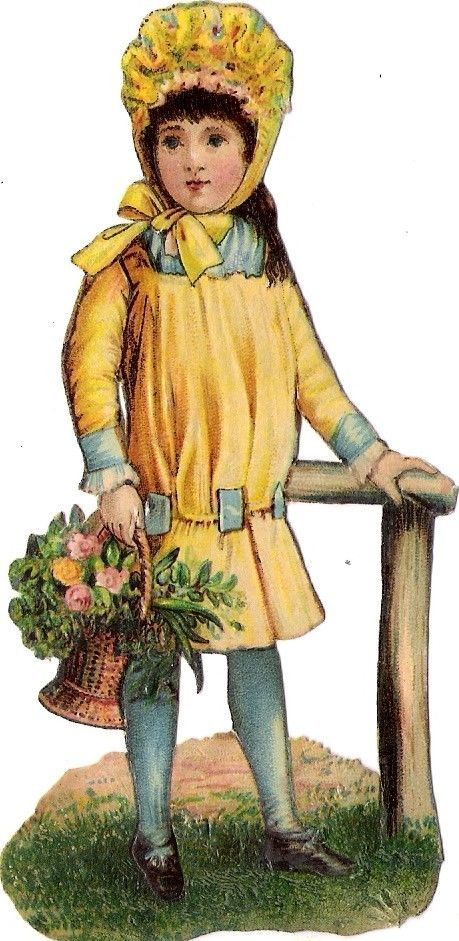 Oblaten Glanzbild scrap die cut chromo Kind child 12cm enfant  fille