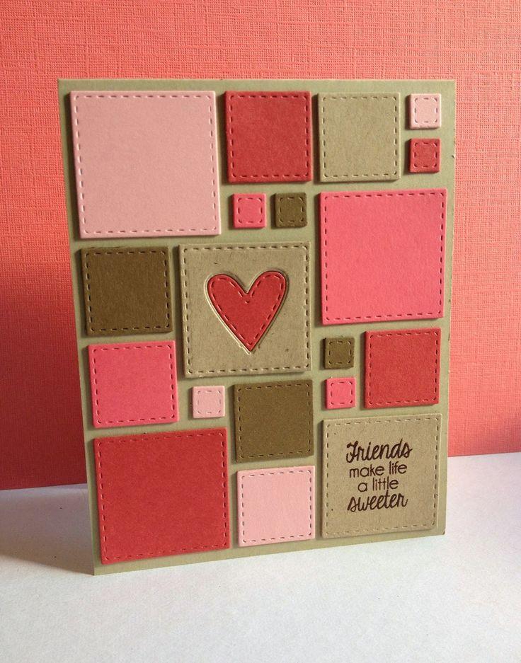 """Idée de carte à """"déchiffrer"""" pour faire chauffer ma Silhouette Portrait ! Je verrais bien quelques points à la machine à coudre pour donner le rendu couture des carrés..."""
