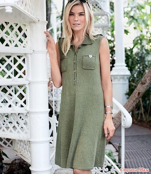 Платье-рубашка с погонами спицами