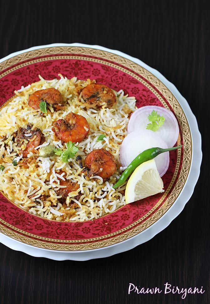 prawn biryani recipe - dum style biryani with step by step pictures. One of the easiest and delicious seafood dish that even a novice can try.