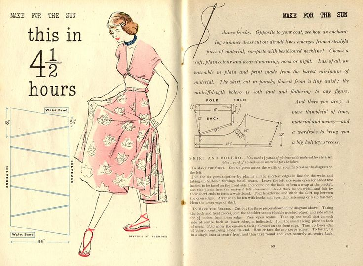From Vintage Chic, this gorgeous Summer Skirt- and Top!- Pattern is so easy and would look gorgeous on a beech, sipping a Pimms or wafting about Paris as we so often do *ahem*.  Click to enlarge the image and take a read. The cutting is clever, and uses every scrap of fabric, the instructions …