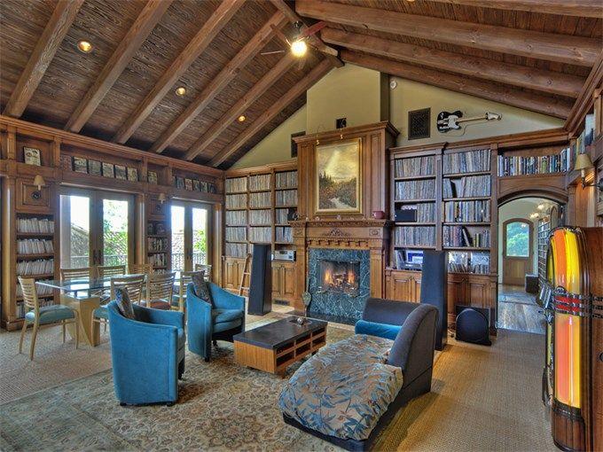 Home library in Santa Barbara, California