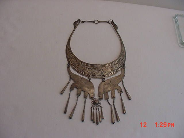 Vintage Elephant India Style Silver Tone Metal Necklace  17 - 589 by HardlyAbleStable on Etsy