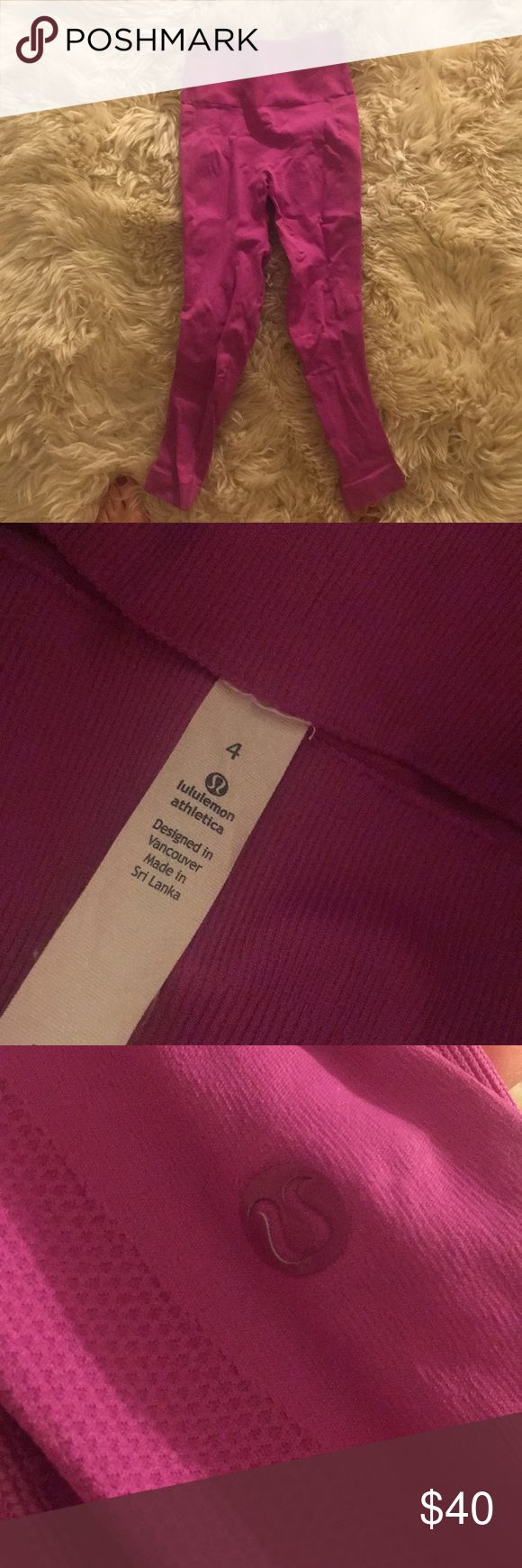 Lululemon magenta Capri leggings Never been worn! Bought on clearance without trying on and the size runs small. It says it's a size 4 but my bet is it was mislabeled lululemon athletica Pants Leggings