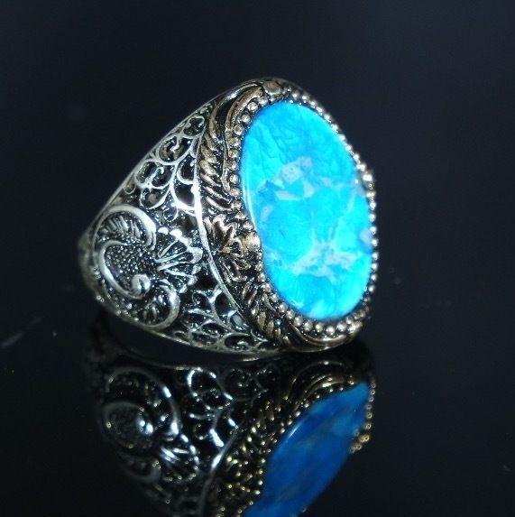 Turkish Handmade Ottoman 925K Sterling Silver Turquoise Men's Ring Size 10,11,12    eBay
