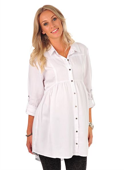 Pumpkin Patch - tops - white gathered shirt - W3MT15007 - white - xs to xlarge