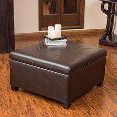 Sabrina Leather Storage Ottoman Coffee Table