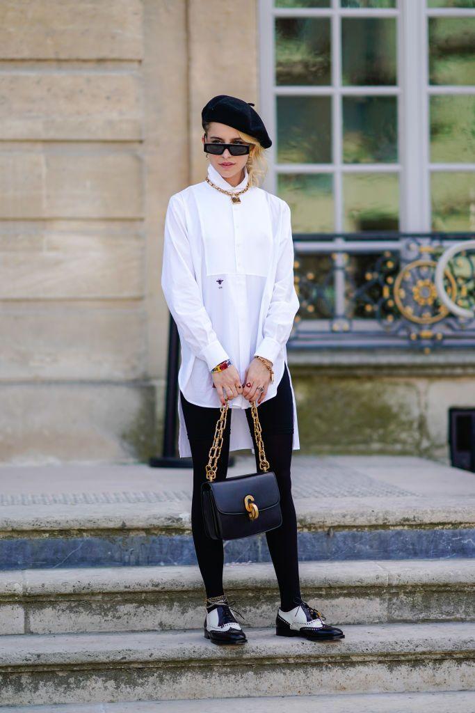 0397747202e7 PARIS, FRANCE - JULY 02: Caroline Daur wears a black beret hat, a white  shirt, a Dior bag, outside Dior, during Paris Fashion Week Haute Couture  Fall Winter ...