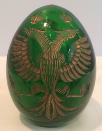 VTG-Russian-Imperial-Double-Head-Eagle-3-Crown-Emerald-Cut-Crystal-Faberge-Egg