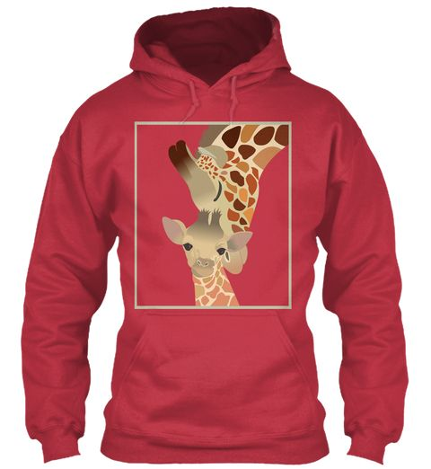 Giraffe Mom And Baby Cardinal Red Sweater Lengan Panjang Front