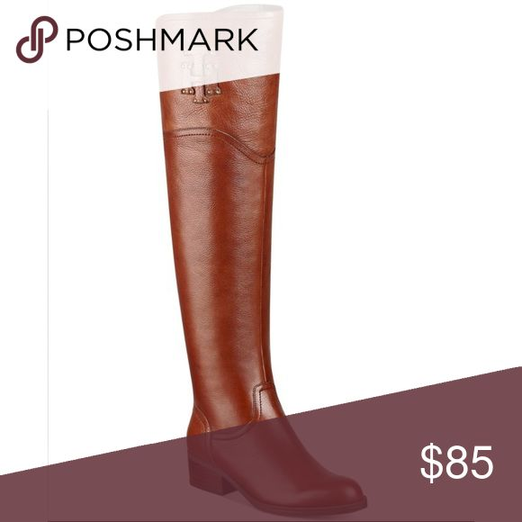 "Tommy Hilfiger Boots NWOB Tommy Hilfiger Gerrie Over The Knee Boot in Cognac Brown is a classic riding boot silhouette and simple styling, these leather thigh high boots are a fall fashion must-have! They will keep your casual style on trend all season long. Leather upper Logo accent with stud embellishments. Back split topline 19½"" shaft height, inside partial zipper 14½"" calf circumference, back elastic panel for stretch fit  Round toe. Fabric lining 1½"" stacked block heel Tommy Hilfiger…"
