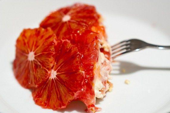 Trifle van bloedsinaasappel, mascarpone en amaretti