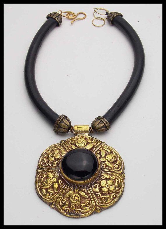 ONYX  Handmade Tibetan Repousse Brass & by sandrawebsterjewelry, $158.00