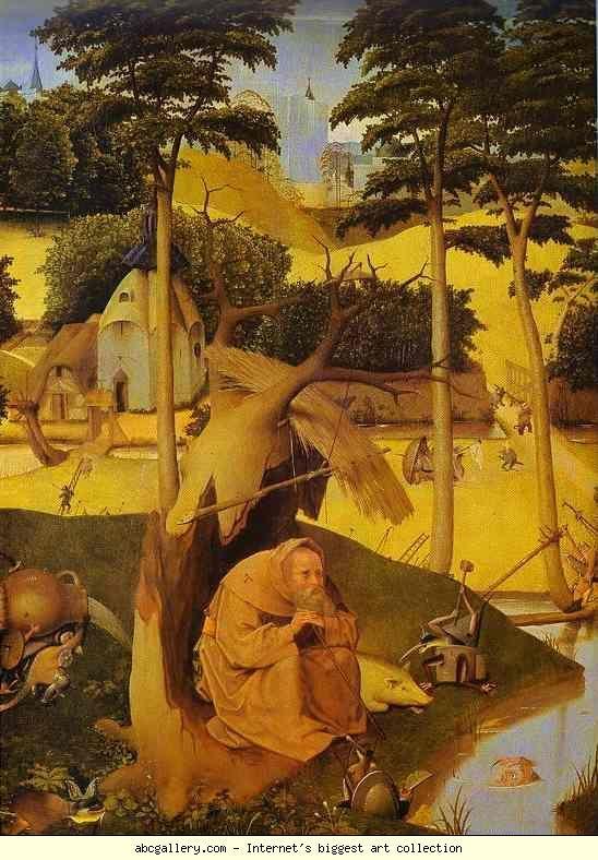 Йеронимус Бош.  Temptation на Свети Антоний.  Галерия Олга - Temptation на Свети Антоний.  1500S.  Маслени панел.  Музей дел Прадо, Мадрид, Испания: